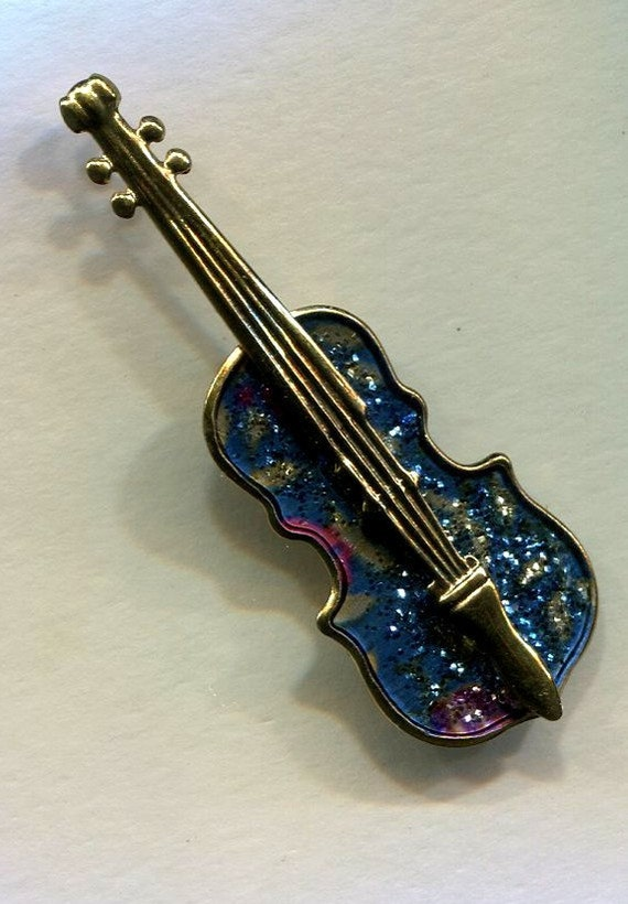Guitar Pin with Glitter Enamel