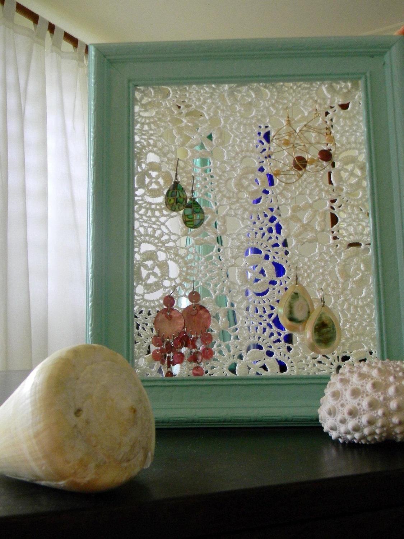 Vintage Frame And Crochet Doily Earring Holder