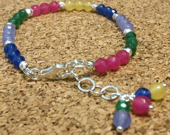 Jade Bracelet Sterling Silver Jewelry Gemstone Jewellery Multicolor Beaded Children