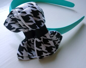Children's Hair Accessories Black White Houndstooth Bow Aqua Turquoise Headband Ribbon girl Statement Bold Fashion