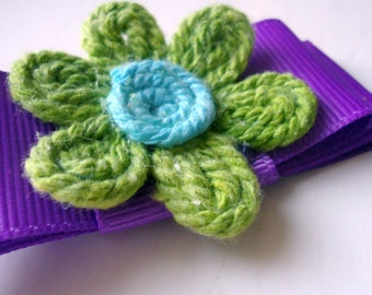 Purple and Green Flower Clip Hair Accessory Bow Girl Teen Ribbon Colorblock Yarn