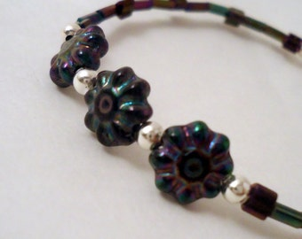 Child's Purple Bracelet - Silver Jewelry - Extender Chain Jewellery - Flower Iridescent Geometric Triangle Handmade Unique