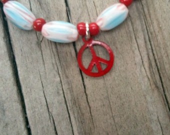 Peace Sign Bracelet Red White Blue Jewelry Red Peace Sign Charm Jewellery Anti War Fashion Everyday