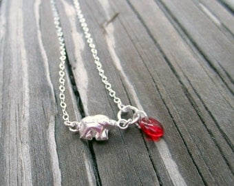 Children's Elephant Necklace Mother Daughter Roll Tide Necklace Sterling Silver Jewelry Red Bohemian Glass Bead Chain Jewellery Alabama