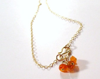 Orange Necklace - Cluster Pendant - Gold Jewelry - Carnelian Natural Gemstone - Handmade Jewellery - Salmon Coral Tangerine Fashion