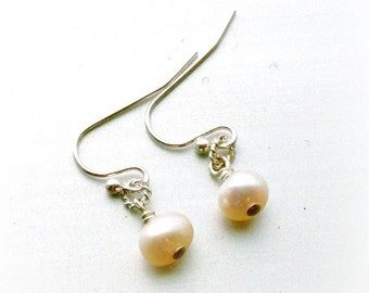 Childrens Pearl Earrings - Wedding Jewellery - First Communion - Flower Girl - Sterling Silver Jewelry Fresh Water Pearls Gemstone