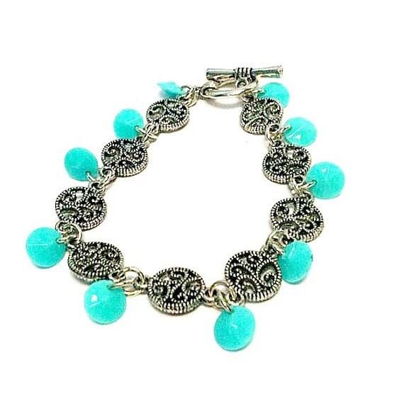 Childrens Charm Bracelet: Children's Turquoise Bracelet Charm Bracelet Silver