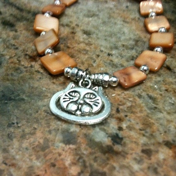 Caramel Bracelet Silver Jewelry Cat Charm Children Girl Amber Beads Coffee Color Jewellery Animal Pet