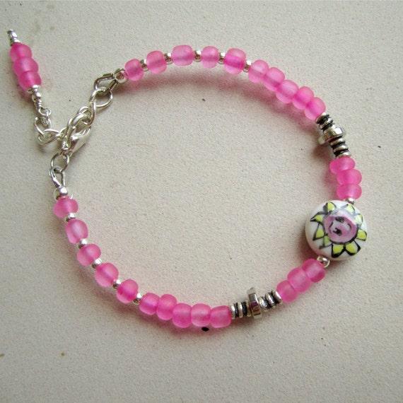 Children's Pink Bracelet Silver Jewelry Flower Glass Bead Jewellery Sunshine Smile Extender Chain