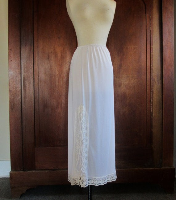 half slip maxi skirt half slip white by drefindsvintage