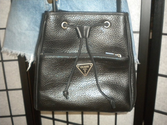 S A L E Vintage Pebbled Leather Drawstring Saddle Bucket Bag by GUESS