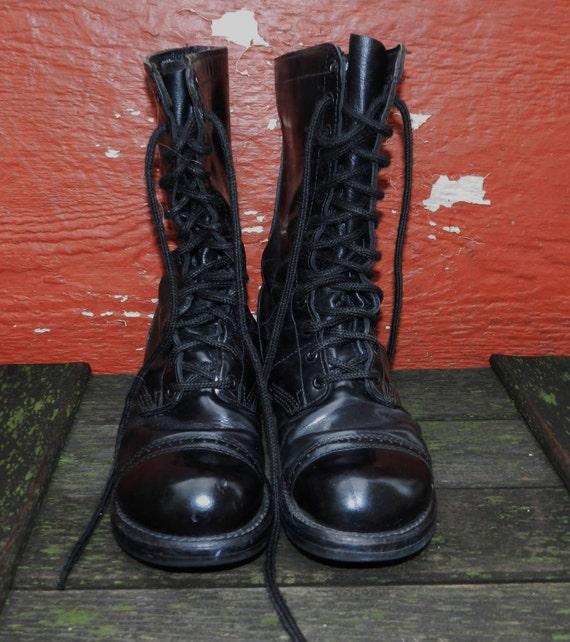 Vintage - Rare 1960s Black Patent Leather Corcoran Combat Boots - Size 9.5