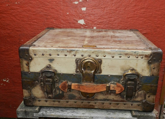 Vintage Antique Never Break Trunks by L. Goldsmith & Son - Newark New Jersey - Steam Trunk - Small