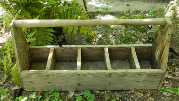 Large Vintage Wooden Compartment Tool Box / Flower Box Planter