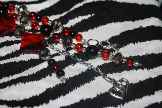 Hope purse charm- red and black