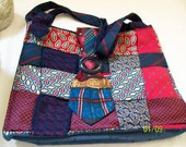 Large Carryall Bag in Red and Navy Recycled Ties  Includes Free Change Holder