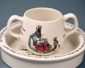 Beatrix Potter Wedgwood Peter Rabbit Nurseryware Cup And Flat Sided Bowl