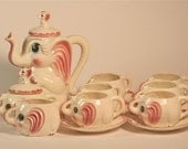 1950's Pink Elephant, Teapot, Hot Chocolate, Coffee, sugar creamer service for six
