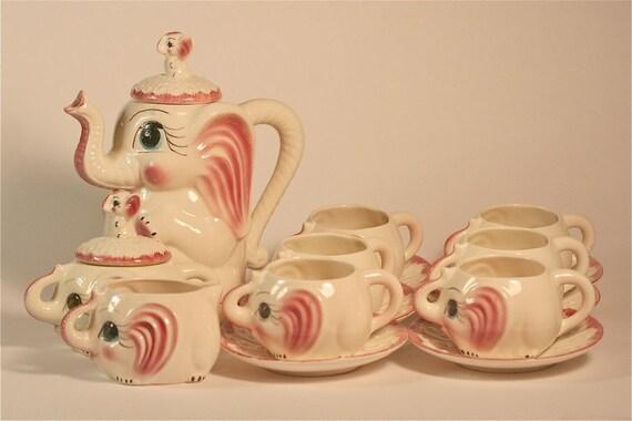 1950 39 s pink elephant teapot hot chocolate coffee sugar - Elephant shaped teapot ...