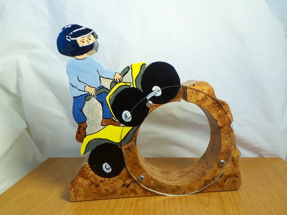 Four Wheeler Rider Wooden Coin Bank - Free personalization