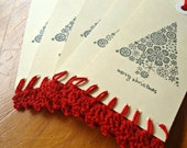 Hand Crocheted & Stamped Gift Tags - Red Christmas Tree - SIX