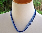 Organza Ribbon/Cord 40cm Long ELECTRIC BLUE Necklace - Orphanage Fundraiser
