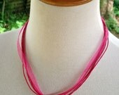 Organza Ribbon/Cord 40cm Long HOT PINK Necklace - Orphanage Fundraiser