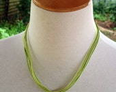 Organza Ribbon/Cord 40cm Long LIME GREEN Necklace - Orphanage Fundraiser