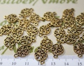 24 pcs per pack 10mm Filigree Coin Link with 2 loops antique Gold Finish Lead Free Pewter