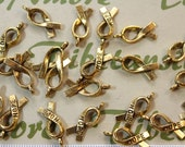 24 pcs per pack 18x8mm Hope Ribbon Charm Antique Gold Finish Lead Free Pewter