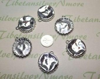 10 pcs pe pack 30mm Bottle Cap Pendant Antique Silver Lead Free Pewter