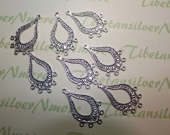 6 pcs per pack 48x25mm Chandelier Filigree Earring Component Antique Silver Finish Lead free Pewter