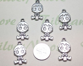6 pcs - 24x12mm Reversible Baby Boy Charm with a bottle Antique Silver Finish Lead Free Pewter