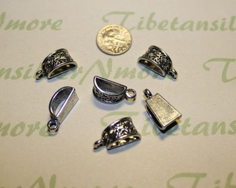 10 pcs per pack 15x7mm 3mm loop Filigree Bail Pewter Antique Silver