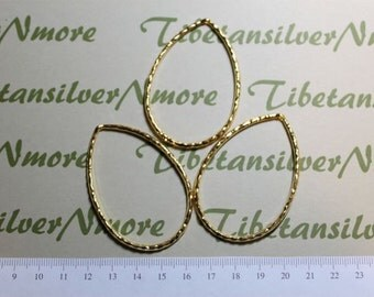 4 pcs 60x40mm Large Hammered Teardrop Loop with top-drilled Antique Gold Finish Lead Free Pewter