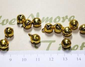 24 pcs - 8mm Brass Bell Charm with cheerful sound.