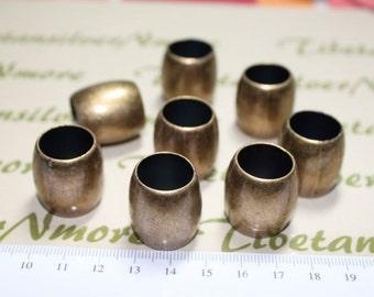 8 pcs per pack 22x16mm & 15mm Hole Acrylic Large Hole Tube Antique Bronze finish.