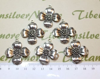 6 pcs per pack 30mm Flower Pendant Antique Silver Finish Lead free Pewter