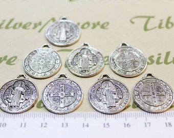 6 pcs per pack 22mm Reversible San Benito Coin Charm Antique Silver Lead free Pewter