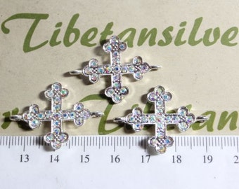 4 pcs per pack 25mm Clear AB Rhinestone Sideways Cross 30mm loop to loop Silver Finish Lead Free Pewter