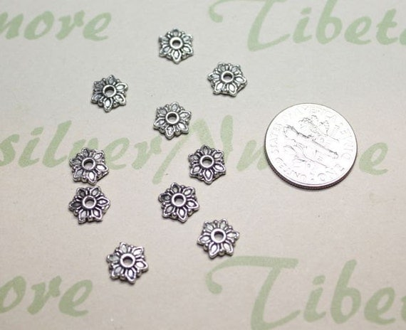 60 pcs per pack 7mm width 3mm thickness Flower Small Bead Caps Shiny Silver Finish Lead Free Pewter