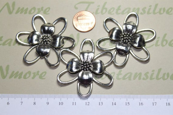 3 pcs per pack 49mm Large Flower Link Antique Silver Lead free Pewter
