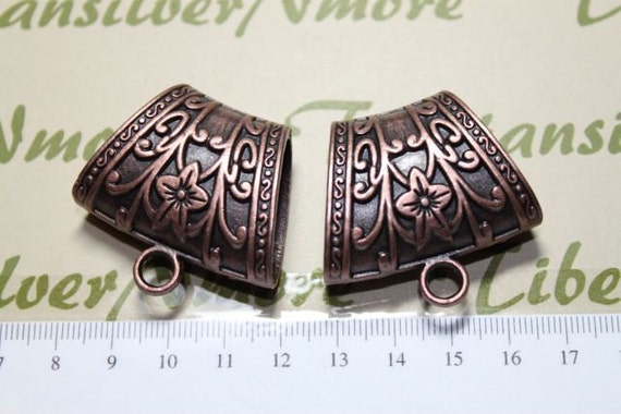2 pcs 40x37x16mm Metal Extra Large Scarf Bail Antique Copper Lead free Pewter.