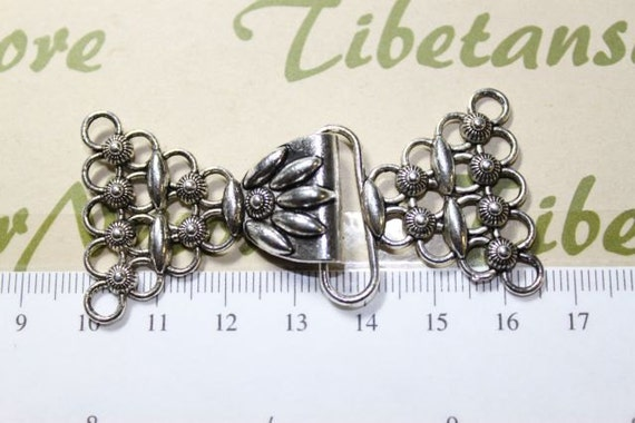 2 pairs per pack 74x45mm 5 strands Clasp Filigree Antique Silver Finish Lead Free Pewter