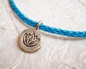 Lotus silver charm Aqua braided yoga bracelet