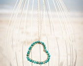 Gold Wire Heart Wrapped in Turquoise Stones on Long Gold Filled Chain