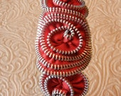 Vintage Orange Zipper Flower Headband