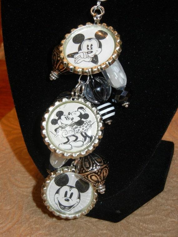 Vintage Mickey Bottle Cap & Bead Cluster Charm