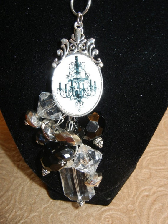 RESERVED FOR DONNA ~ Chandelier Pendant with Black & Crystal Beads Cluster Charm