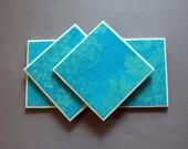 Handmade Coaster - Gold Damask on Teal - Set of 4 - Free Shipping